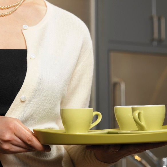 Woman Holding Decorative Tray with Espresso Cups
