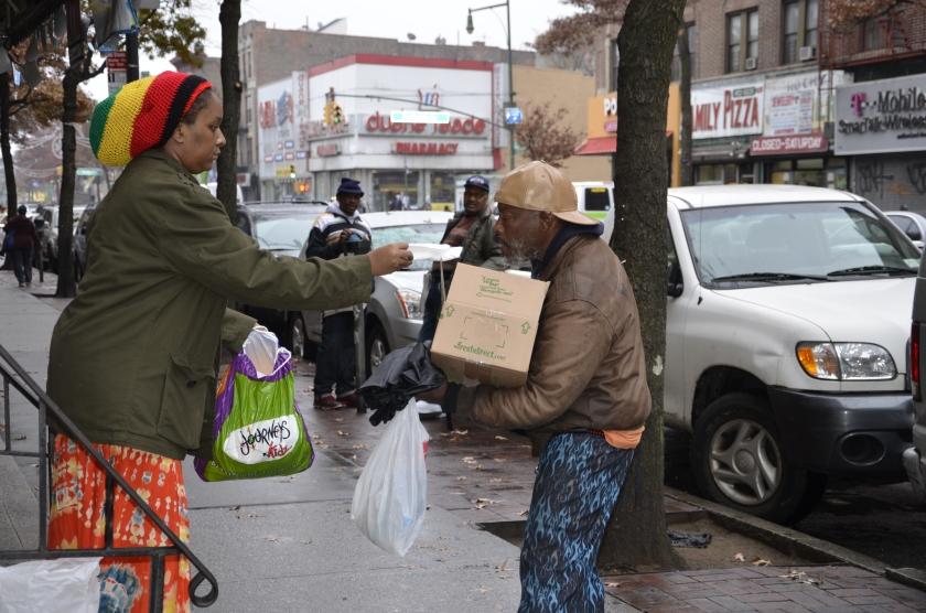 Carla and homeless man