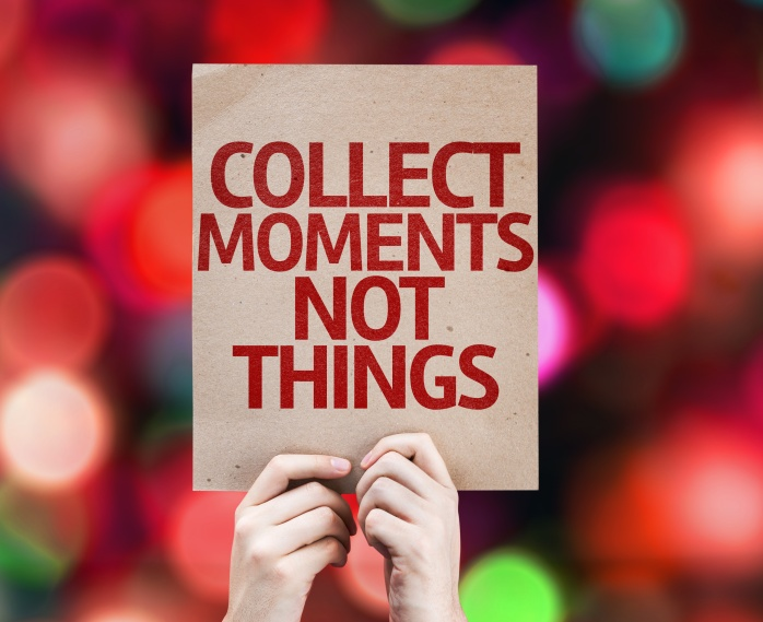Collect Moments Not Things written on colorful background