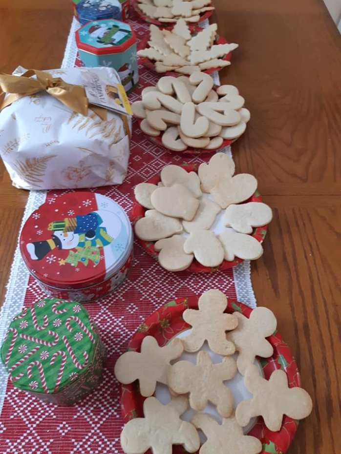 table set up for cookies